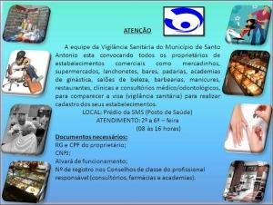 Cadastro de estabelecimentos sujeitos a Vigilância Sanitária de Santo Antônio